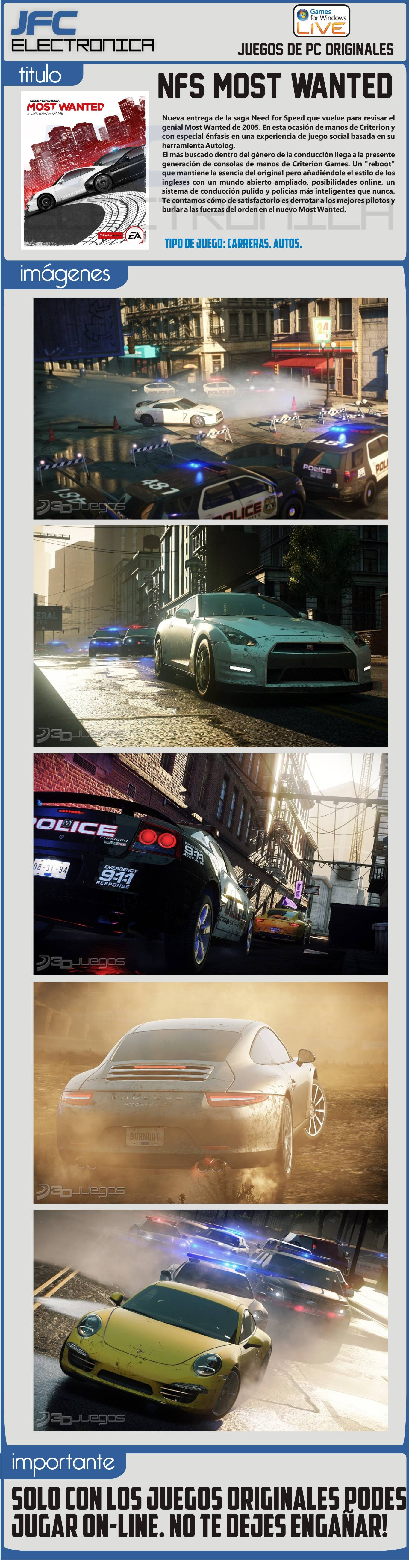 Juegos pc need for speed most wanted para pc original Nfs most wanted para pc